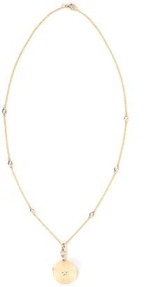 Monica Rich Kosann 18kt yellow gold diamond Center Star Round Locket necklace