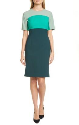 BOSS Donena Colorblock Short Sleeve Sheath Dress