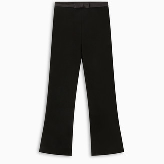 Miu Miu Black cropped trousers wit bow detail