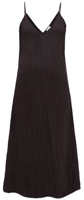 Raey V-neck Crinkled-silk Midi Slip Dress - Black