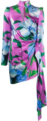 Giuseppe di Morabito Floral Ruched Mini Silk Dress