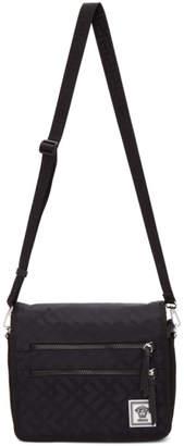 Versace Black and Navy Nylon Greek Drawing Messenger Bag