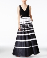 Xscape Evenings Petite Illusion-Inset Striped Ball Gown