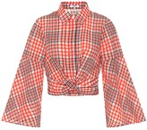 Ganni Checked cotton-blend blouse