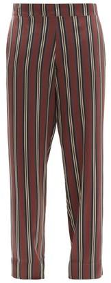 ASCENO London Striped Sandwashed-silk Pyjama Trousers - Burgundy Stripe