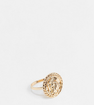 ASOS DESIGN Curve ring with coin detail in gold tone