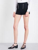 RED Valentino High-rise military-trim twill shorts
