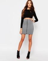 Daisy Street Zip Front Ribbed Mini Skirt