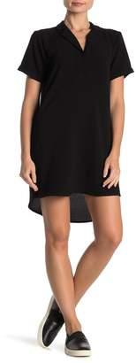 Lush Notch Collar Short Sleeve Shift Dress