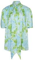 Balenciaga Silk short sleeves scarf blouse
