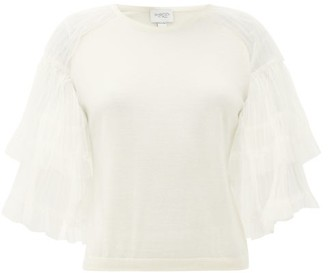 Giambattista Valli Tulle-sleeve Cashmere-blend Sweater - Ivory