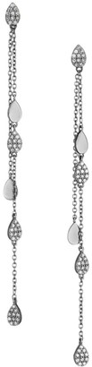 Nina Gilin Black Rhodium-Plated & Diamond Disc Chain Drop Earrings