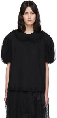 Simone Rocha Black Tulle Collar T-Shirt