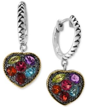 Effy Multi-Gemstone (4 ct. t.w.) Drop Earrings in Sterling Silver & 18k Gold-Plate
