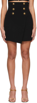 Balmain Black Crepe High-Waisted Miniskirt