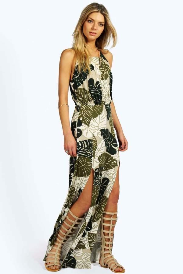 boohoo Tropical Split Front Maxi Dress
