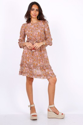 Lilura London Camel Long Sleeve Mini Dress In Chiffon Paisley Print