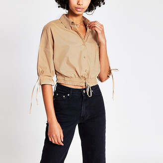 River Island Brown long sleeve cropped drawer string shirt
