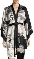 Josie Natori Yuzen Floral-Print Silk Wrap, Multi Pattern
