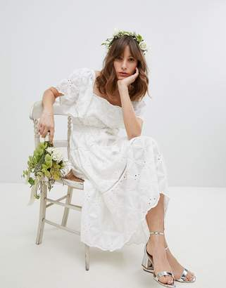 Stevie May Exclusive Floral Embroidered Smock Midi Dress