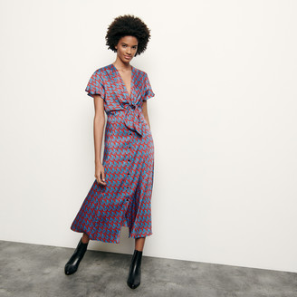 Sandro Long printed dress with tie fastening