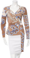 Emilio Pucci Printed Long Sleeve Wrap Top