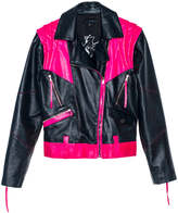 Leka Black & Pink Leather Jacket