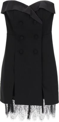 Self-Portrait BUSTIER MINI DRESS WITH LACE 6 Black