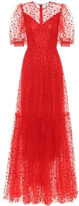 Costarellos Flocked tulle gown