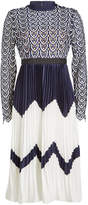 Self-Portrait Dress with Crochet Top and Pleated Skirt