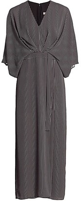 Halston Striped Kimono-Sleeve Dress