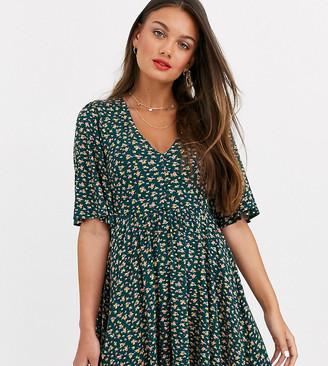 Asos DESIGN Petite floral mini button front swing dress-Green