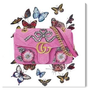"Oliver Gal Doll Memories - Butterfly Bag Canvas Art - 16"" x 16"" x 1.5"""