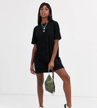 Asos Tall DESIGN Tall cotton double pocket t shirt dress-Black