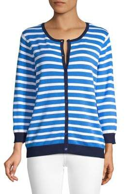 Joseph A Striped Crewneck Cardigan