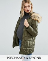 Modern Eternity 3 In 1 Mid Thigh Puffer Coat With Faux Fur Trim Hood
