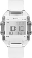 GUESS Men's Digital White Silicone Strap Watch 43x54mm