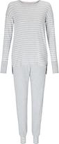 John Lewis Stripe Jersey Pyjama Set, Grey
