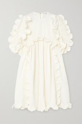 Cecilie Bahnsen Keira Scalloped Cotton-cloque Dress - Yellow