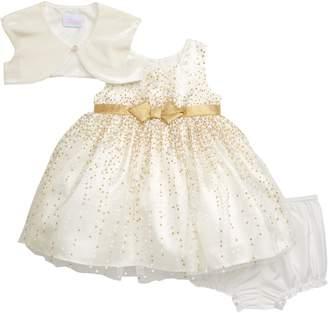 Frais Glitter Fit & Flare Dress & Velvet Shrug Set