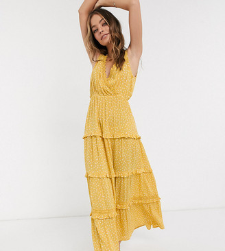 ASOS DESIGN Petite sleeveless tiered crinkle maxi dress with lace inserts in mustard spot