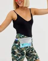 Asos Design DESIGN holographic and rhinestone ladies' wallet detail waist and hip belt