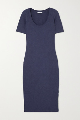 Ninety Percent Ribbed Stretch-organic Cotton Midi Dress - Navy