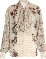 See by Chloe Tie-neck multi floral-print blouse