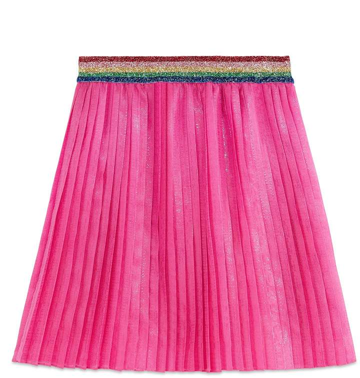 Gucci Pleated Iridescent Organza Skirt