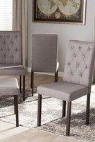 Wholesale Interiors Gardner Modern and Contemporary Dark Brown Finished Grey Fabric Upholstered Dining Chair - Set of 4