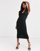 Asos Design DESIGN snake leather look midi dress in black
