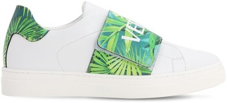 Versace Jungle Logo Leather Strap Sneakers
