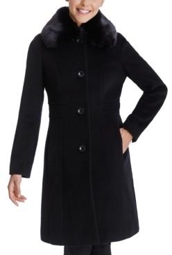 Anne Klein Single-Breasted Faux-Fur Club-Collar Coat