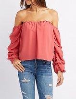 Charlotte Russe Ruched Sleeve Off-The-Shoulder Top